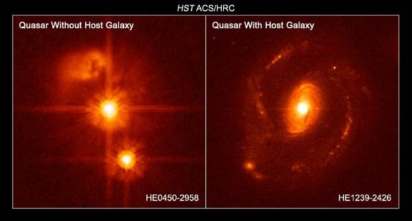 有宿主星系的类星体HE1239-2426和无宿主星系的类星体HE0450-2958之间的比较