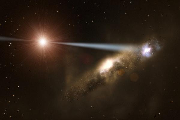 超大质量黑洞射出的喷流导致星系形成的概念图